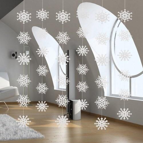 3D Pearl Paper Schneeflocke String Weihnachtsschmuck