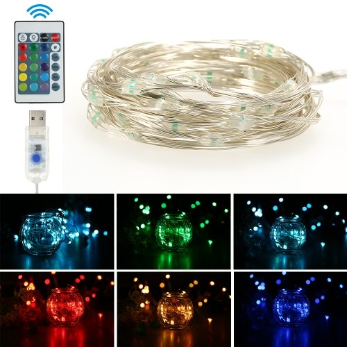 10M 100LED String Lights USB Decorazione esterna impermeabile Matrimonio Natale 16 Modalità