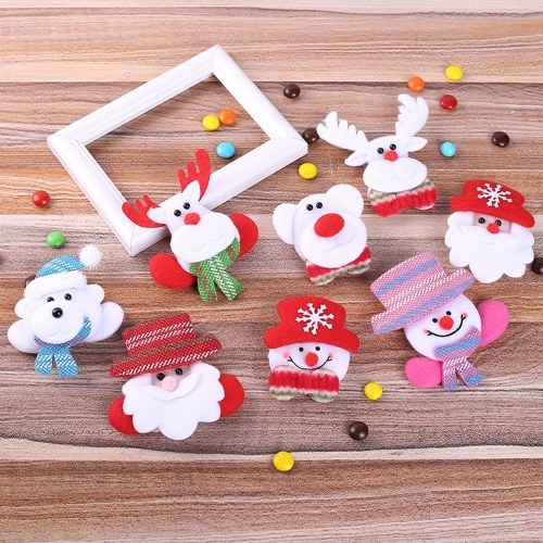 LED Glowing Brooch Badge Hair Clip Santa Snowman Elk Bear Doll Pendant Christmas Decorations