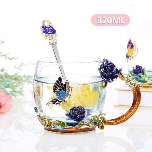 Blue Rose Enamel Craft Water Cup 320ML