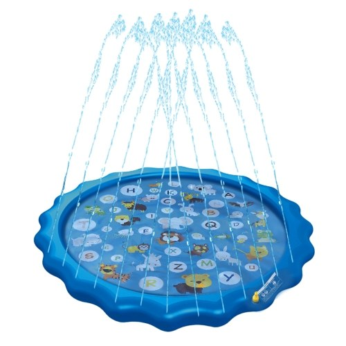 67in Sprinkler for Kids Outdoor Wading Splash Swimming Mat Pool Pad Inflatable Water Toys for Learning with Animals Alphabet