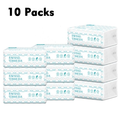 10 Packs Facial Tissues Thickening Strong Water Absorption Eco-Friendly Recycled Paper Home Use Soft Virgin Wood Pulp