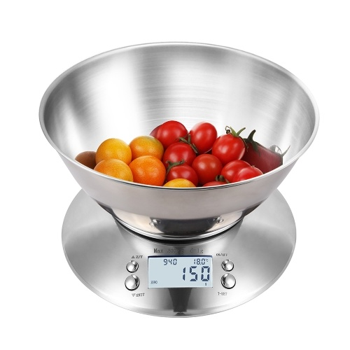 Báscula de alta precisión Báscula de cocina 11 lb / 5 kg Báscula de alimentos con temporizador de cuenco Pantalla de temperatura 5 unidades Báscula multifunción