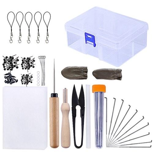 54PCS Kit de fieltro de aguja Kit de inicio de fieltro de aguja Hilo de fibra Suministros de fieltro de aguja para manualidades de bricolaje Uso de arte de oficina en casa