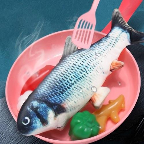 Реалистичные Плюшевые Моделирование Электрические Куклы Рыбы Забавные Интерактивные Домашние Животные Жуют Укусы Принадлежности для Кошки Рыбы Флоп Игрушка Кошки для кусаться и пинать фото