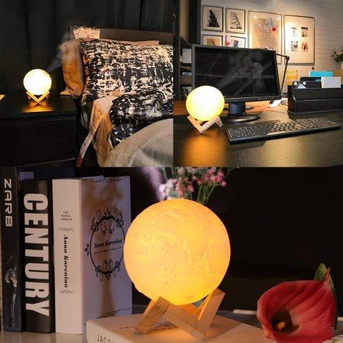 3D Moon Modern Lamp 880ML Humidifier Lunar Light with 3 Color Night Light LED Desk Moon Lamp with Cool Mist Humidifier Function