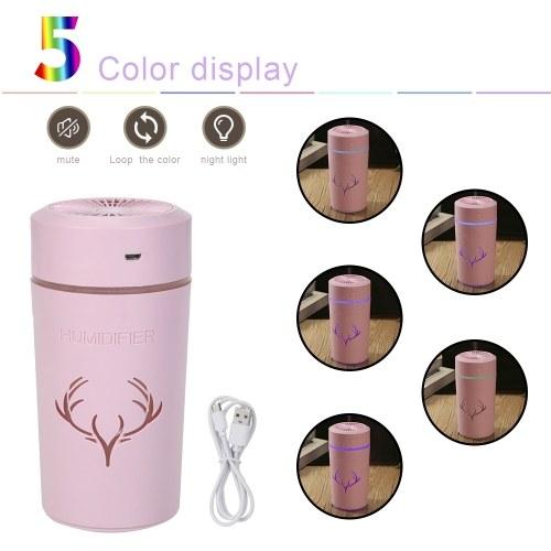 Tragbarer Mini-Luftbefeuchter 500ml Kleiner Luftbefeuchter mit kühlem Nebel und Nachtlicht USB-Desktop-Luftbefeuchter für Babyzimmer Reisebüro Home Super Quiet (Pink)
