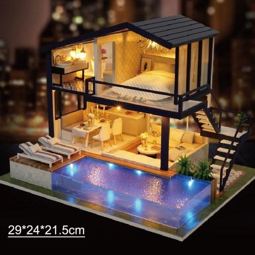 Casa de muñecas de madera Miniaturas Kit de casa de bricolaje Divertida caja de rompecabezas de madera con tapa, luz LED y movimiento de música, decoración del hogar regalo de juguete para niños
