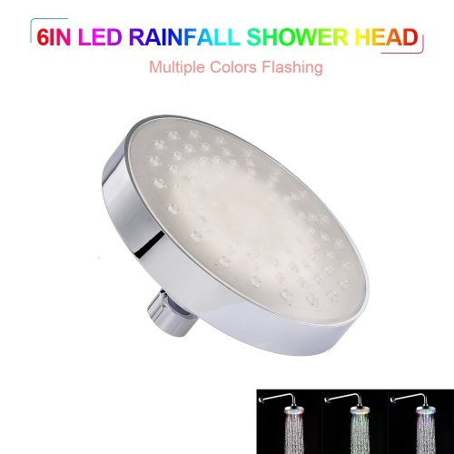 LED Rainfall Shower Head Multiple Colors Automatically Color-Changing Showerhead