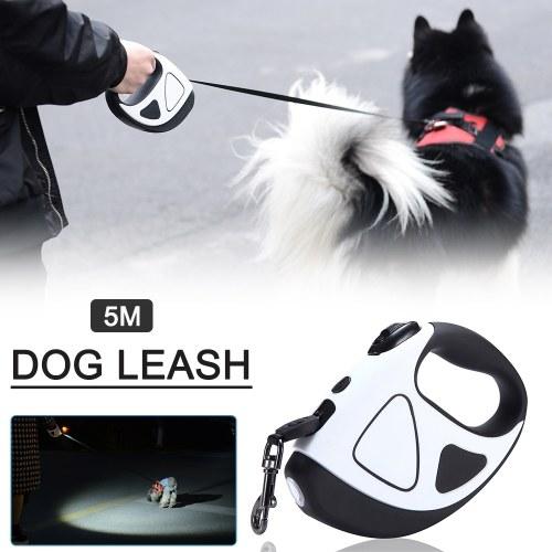 Correa de perro retráctil con linterna LED para perros, correa extensible sin enredos de 360 °, correa de nailon para perro con asa antideslizante, freno de una mano, pausa, bloqueo (5 m)