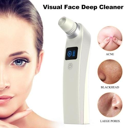 Removedor de puntos negros Limpiador profundo de cara visual USB recargable Limpiador de poros faciales eléctrico Aspiradora, 5 potencia de succión ajustable, Belleza facial Cuidado de la piel Herramienta de spa con pantalla LCD para mujeres y hombres