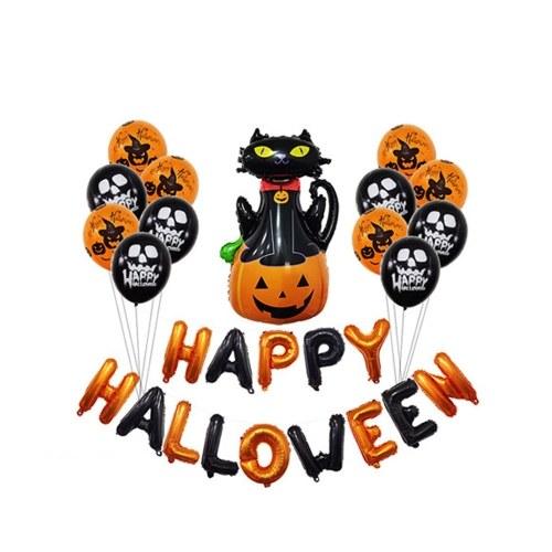 Décorations de fête d'Halloween, kit de bannière de ballons joyeux Halloween à suspendre, idéal pour le travail à l'intérieur à la maison, décorations de fête d'anniversaire pour enfants
