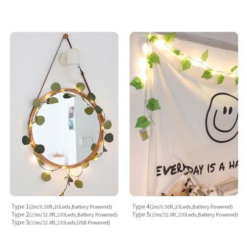 32.8ft 100LEDs Fairy String Lights Leaf Shaped Decorative Hanging Lights