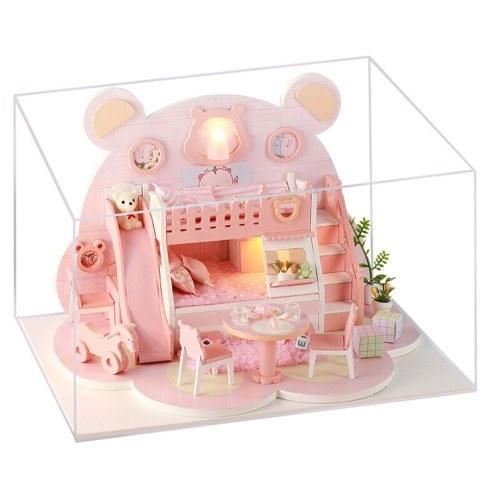 DIY Miniatur Puppenhaus mit Möbeln und LED-Leuchten Pink Bear 3D Holzpuppenhaus