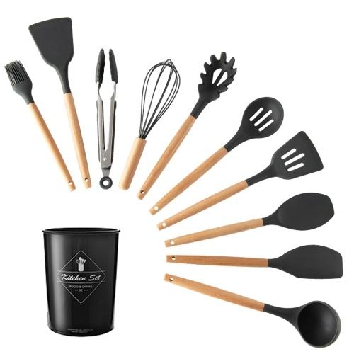 11 PCS Kitchen Utensils Set with Storage Bucket