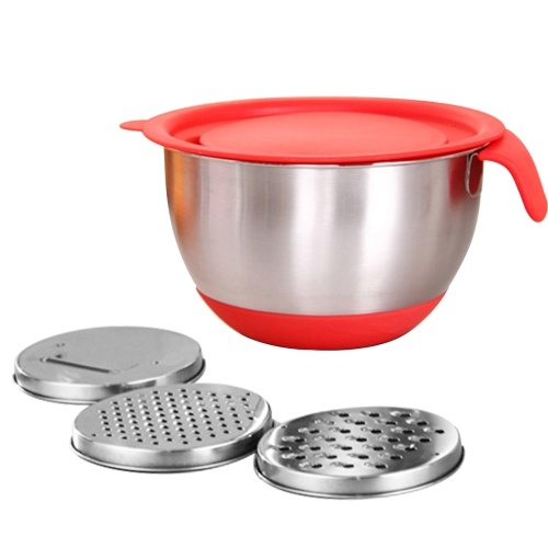 Mixing Bowl Stainless Steel Salad Bowls(4.5L Bowl & Solid Lid & 3 Graters)