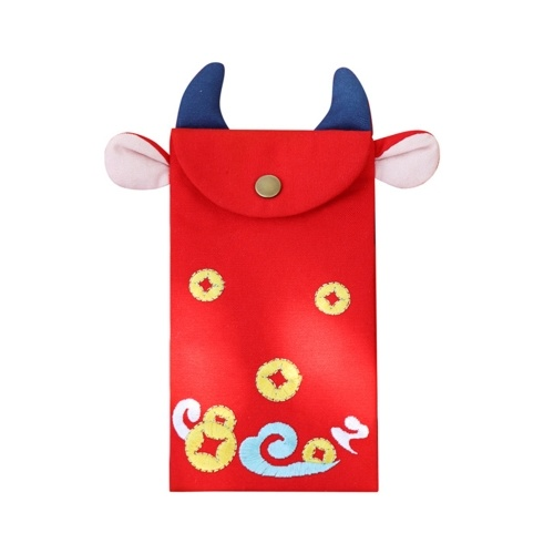 Embroidered Bull-shaped Red Envelope