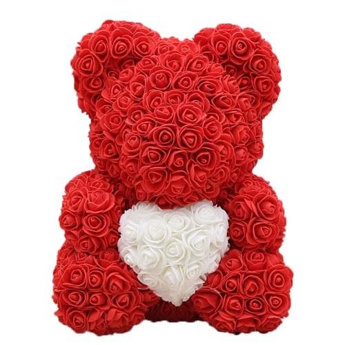 Ours en peluche rose 10 pouces de haut Ours à fleurs