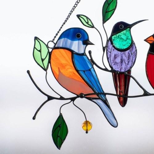 Bird Painting Window Decoration Birds Wall Art Ornaments