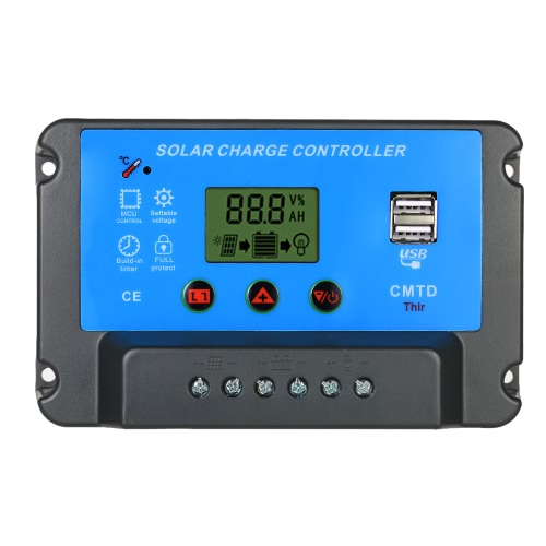 Anself 30A 12V/24V Solar Charge Controller with LCD Display Auto Regulator Timer Solar Panel Battery Lamp LED Lighting Overload Protection