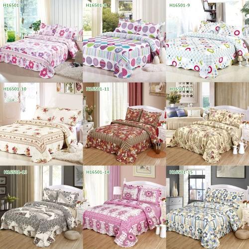 3pcs Bedding Set 230 * 260 CM fiore stampato Pattern poliestere fibra Patchwork Quilt trapunta cuscino casi biancheria Home Textiles