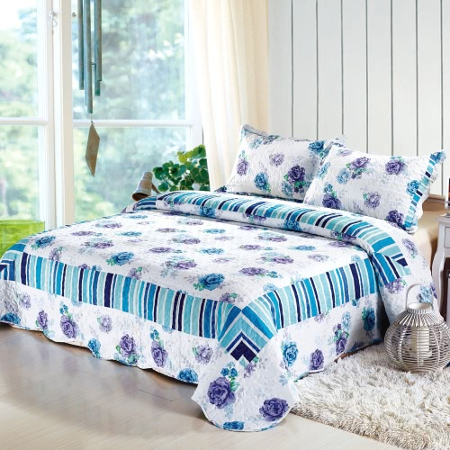 3Pcs Bedding Set 230 * 260 CM Checked Flower Printed Pattern Polyester Fiber Patchwork Quilt Comforter Pillow Cases Bedclothes Home Textiles