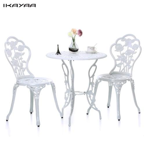 Table et 2 chaises de jardin style bistro IKAYAA - 2 coloris disponibles