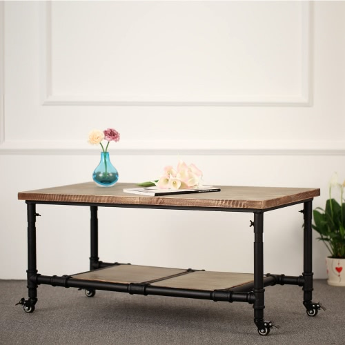 iKayaa Natural Pinewood Top Tea Coffee Table with Storage Steel Frame Living Room Cocktail Table Furniture W/Lockable Caster 40*20