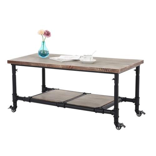 IKayaa Natural Pinewood Top Tea Журнальный столик с хранения Стальные рамы Гостиная Чайный столик Мебель W / Блокируемый Кастер 40 * 20