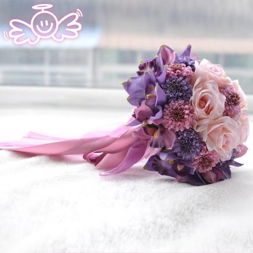 Venta caliente boda Bouquet romántico rosa púrpura artificiales de la boda Ramos de novia