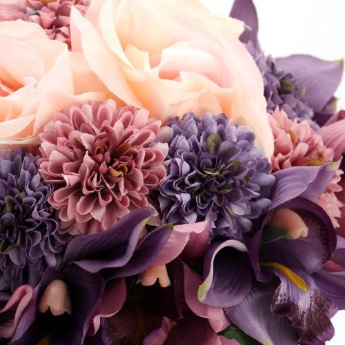 Vente chaude mariage Bouquet violet Rose romantique mariage artificielles Bouquets pour la mariée