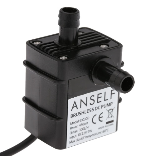 Anself ultra-leise Mini DC12V 9W Micro Brushless Wasser Öl Pumpe Wasserdicht Tauchpumpe Brunnen Aquarium 300 L/H Lift 450 cm Umlauf