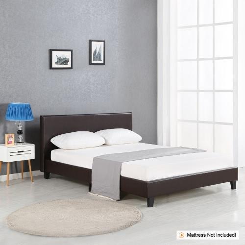 iKayaa Современная королева с обшивкой из мягкой постельной белья с рамкой из дерева с деревянными рейками Wingback Bed Frame Sponge Padded Brown 200KG Емкость для матраса 152 * 203 см