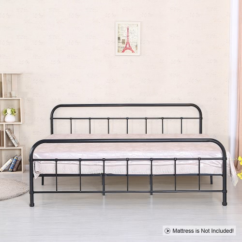 iKayaa Contemporary Metal Platform Bed Frame With Wood Slats for Full/Queen/King/California Sized Mattress Foundation + Headboard & Footboard Bedroom Furniture