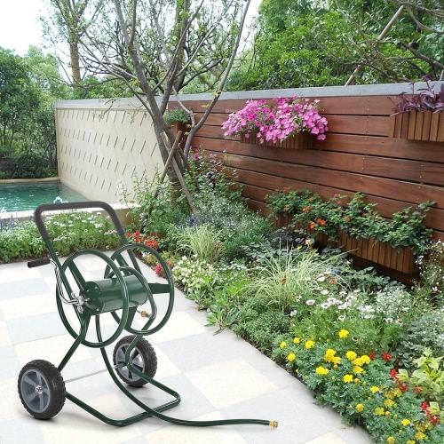 iKayaa 200 Feet Kapazität Gartenschlauchwagen Stahlrahmen 2 Wheel HHose Wagen