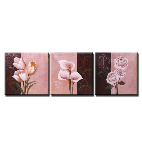 3pcs Unframed Hand Painted Oil Painting Set Orchid Flower Modern Picture Canvas Paint Wall Decor Art for Living Room Decoration