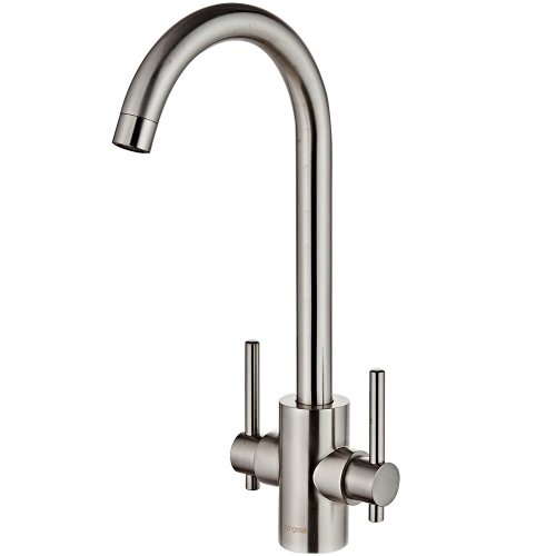 Homgeek Luxury Modern High-quality Deck Mount Solid Brass Basin Sink Kitchen Faucet Brushed Nickel Double Handle Tap with Swivel Spout Home Hotel