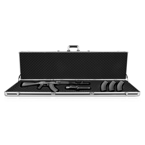 iKayaa Black Aluminum Hard Single Rifle Gun Case With Locks Large Shotgun Case Carrying Storage Box Gun Accessory