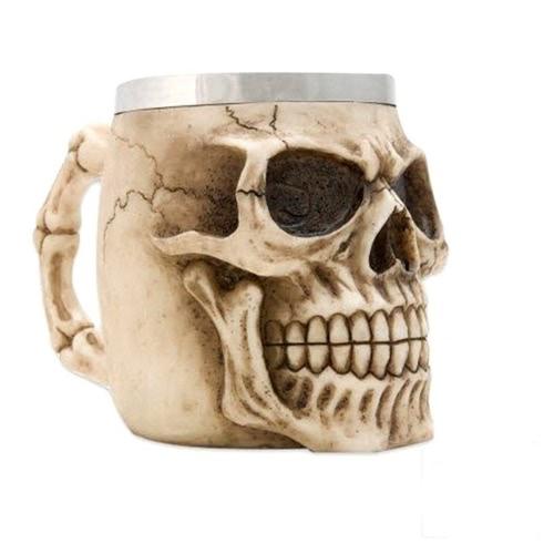 Hot Unique Stainless Steel Liner Creepy 3D Skull Coffee Beer Milk Mug Cup