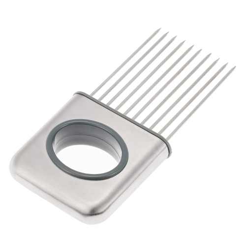 Stainless Steel Onion Holder Vegetable Potato Tomato Cutter Slicer Fork Slicing Helper Odor Remover Steak Tenderizers Loose Meat Needle Gadget Kitchen Tool Kitchenware