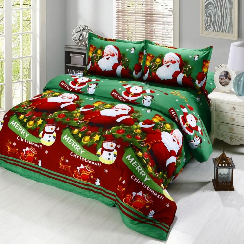 4pcs Cotton Material 3D Printed Cartoon Merry Christmas Gift Santa Claus Comfort Deep Pocket Bedding Set Bedclothes Duvet Quilt Cover Bed Sheet 2 Pillowcases