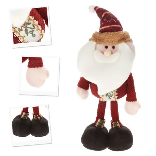 Festnight High-end Lovely Christmas Stuffed Toy Delicate Adorable Standing Santa Clause Reindeer Snowman Xmas Doll Christmas Decor