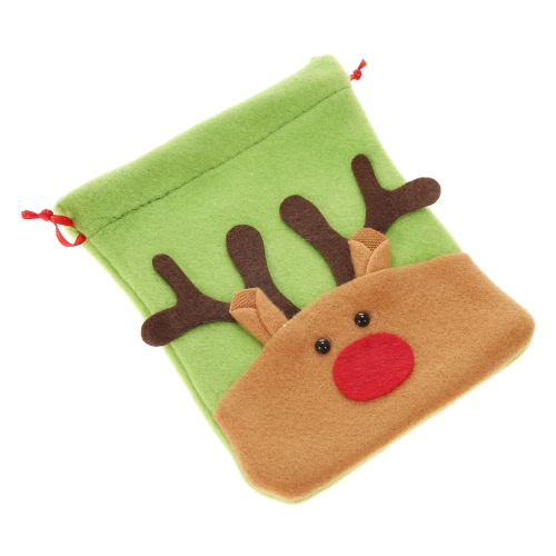Festnight Mini Lovely Reindeer Christmas Gift Candy Cookie Chocolate Drawstring Bag Festival Decoration