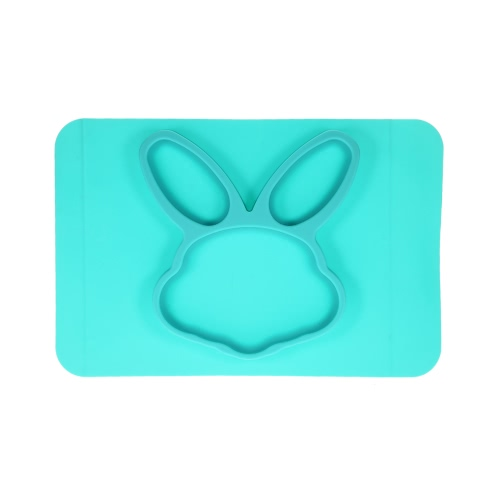 2 en 1 Caja de silicona impermeable verde Conejo Dividido Mantel Plato Tazón Vajilla para los niños del niño del bebé