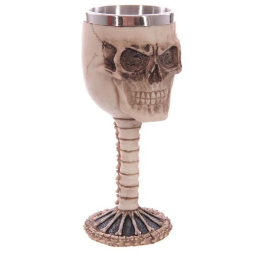 Hot Unique Creative Novelty Resin Stainless Steel Liner Creepy 3D Pattern Goblet Beer Milk Coffee Cup Tankard Drinkware for Halloween Decoration Gift Personalized