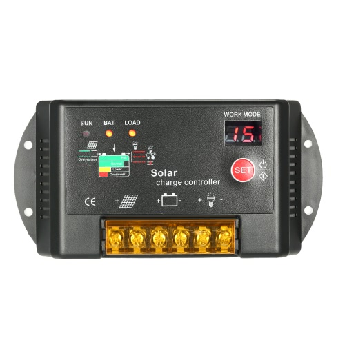 10A 12V/24V PWM Solar Charge Controller with LED Display Auto Regulator for Solar Panel Battery Lamp Overload Protection