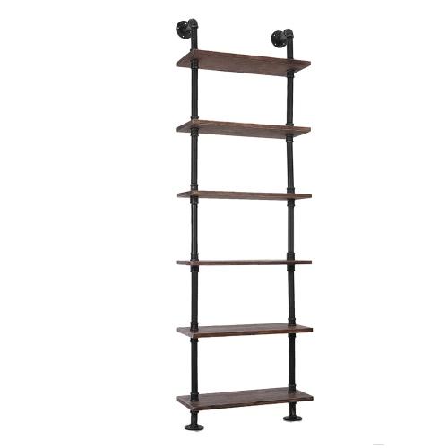 Etagère de style industriel iKayaa en acier et en bois- 6 Etages