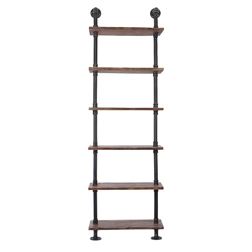 Attrayant IKayaa 6 Tier Rustic Industrial Ladder Wall Shelves W/ Wood Planks DIY Iron  Pipe Standing
