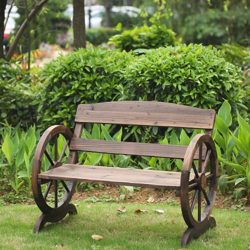 IKayaa 2 Miejsca Outdoor Wood Bench W / oparcie Rustic Wagon Wheel Style Patio Meble ogrodowe