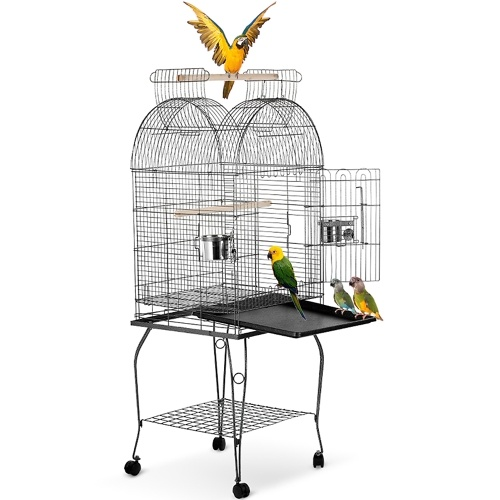 IKayaa Wrounght Iron Bird Parrot Cage Play Top Macaw Cockatoo Parakeet Conure Finch Cage + нержавеющая сталь Bowl & Lockable Wheels